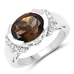 3.40 Carat Genuine Smoky Quartz and White Topaz .925 Sterling Silver Ring