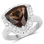 3.98 Carat Genuine Smoky Quartz and White Topaz .925 Sterling Silver Ring