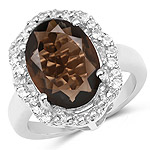 7.33 Carat Genuine Smoky Quartz and White Topaz .925 Sterling Silver Ring