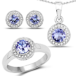 3.22 Carat Genuine Tanzanite & White Topaz .925 Sterling Silver Set