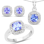3.42 Carat Genuine Tanzanite and White Topaz .925 Sterling Silver Jewelry Set