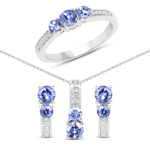 1.54 Carat Genuine Tanzanite and White Topaz .925 Sterling Silver Jewelry Set