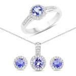 1.82 Carat Genuine Tanzanite and White Topaz .925 Sterling Silver Ring, Pendant and Earrings Set