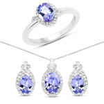 2.83 Carat Genuine Tanzanite and White Topaz .925 Sterling Silver Ring, Pendant and Earrings Set