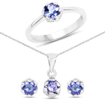 1.40 Carat Genuine Tanzanite .925 Sterling Silver Ring, Pendant and Earrings Set