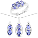 3.12 Carat Genuine Tanzanite and White Topaz .925 Sterling Silver Ring, Pendant and Earrings Set