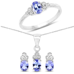 1.66 Carat Genuine Tanzanite and White Topaz .925 Sterling Silver Ring, Pendant and Earrings Set