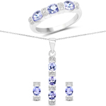 2.82 Carat Genuine Tanzanite and White Topaz .925 Sterling Silver Ring, Pendant and Earrings Set