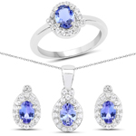 """3.72 Carat Genuine Tanzanite and White Topaz .925 Sterling Silver Ring, Pendant and Earrings Set"""