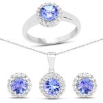 3.77 Carat Genuine Tanzanite and White Topaz .925 Sterling Silver Ring, Pendant and Earrings Set