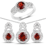 3.04 Carat Genuine Garnet and White Topaz .925 Sterling Silver 3 Piece Jewelry Set (Ring, Earrings, and Pendant w/ Chain)