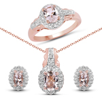 14K Rose Gold Plated 2.68 Carat Genuine Morganite and White Topaz .925 Sterling Silver Ring, Pendant & Earrings Set