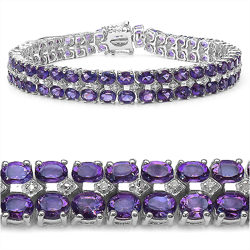 Bracelets-17.97 Carat Genuine Amethyst and 0.13 ct.t.w Genuine Diamond Accents Sterling Silver Bracelet