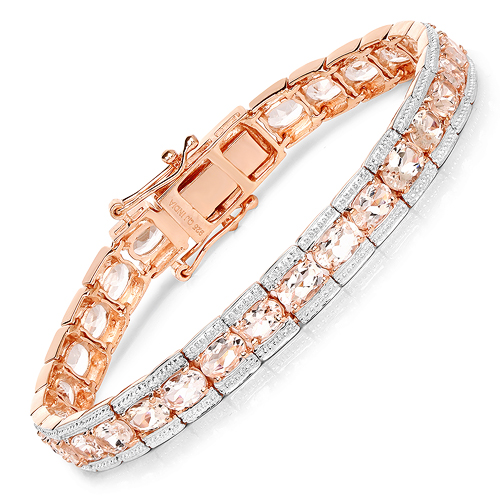 Bracelets-18K Rose Gold Plated 11.60 Carat Genuine Morganite .925 Sterling Silver Bracelet
