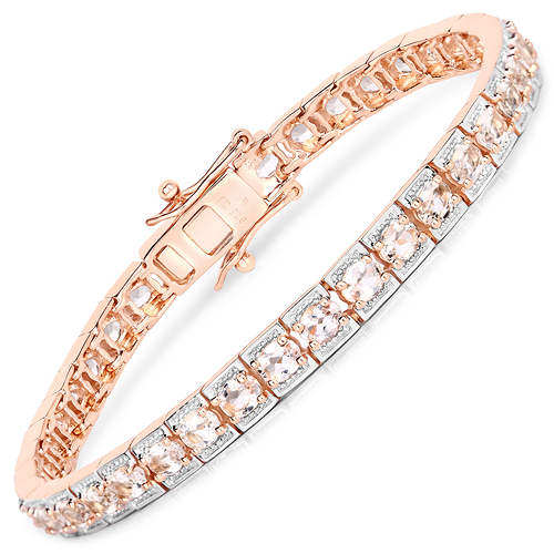 Bracelets-14K Rose Gold Plated 6.00 Carat Genuine Morganite .925 Sterling Silver Bracelet