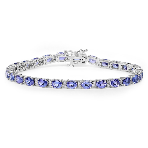 Bracelets-9.53 Carat Genuine Tanzanite and White Diamond 14K White Gold Bracelet