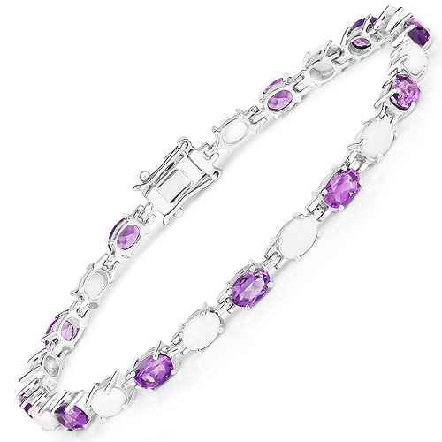 8.03 Carat Genuine Opal and Amethyst .925 Sterling Silver Bracelet
