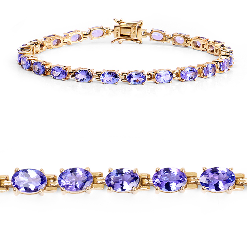 Bracelets-14K Yellow Gold Plated 9.68 Carat Genuine Tanzanite .925 Sterling Silver Bracelet