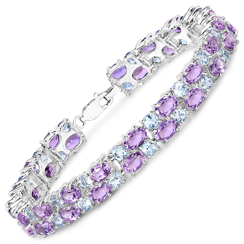 Bracelets-23.04 Carat Genuine Amethyst and Blue Topaz .925 Sterling Silver Bracelet