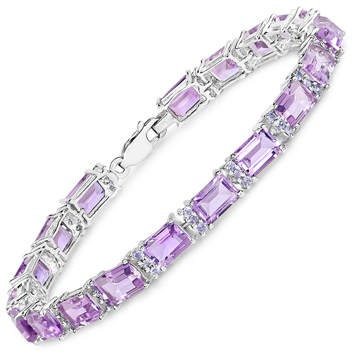 Bracelets-19.19 Carat Genuine Amethyst and Tanzanite .925 Sterling Silver Bracelet