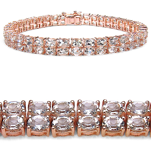 Bracelets-14K Rose Gold Plated 12.00 Carat Genuine Morganite .925 Sterling Silver Bracelet