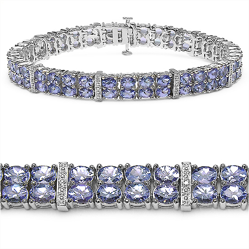 Bracelets-12.97 Carat Genuine Tanzanite and White Topaz .925 Sterling Silver Bracelet