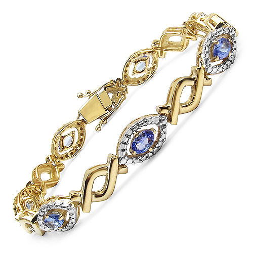 Bracelets-14K Yellow Gold Plated 3.08 Carat Genuine Tanzanite .925 Streling Silver Bracelet