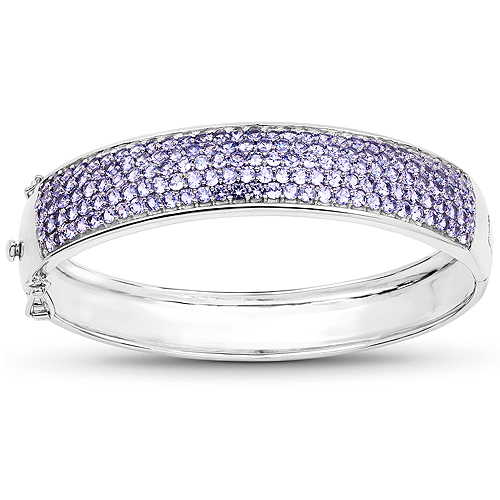 Bracelets-10.29 Carat Genuine Tanzanite .925 Sterling Silver Bangle