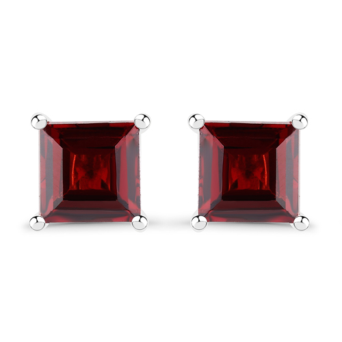 2.50 Carat Genuine Garnet .925 Sterling Silver Earrings