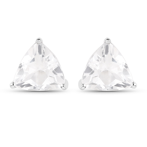 Earrings-1.40 Carat Genuine White Topaz .925 Sterling Silver Earrings
