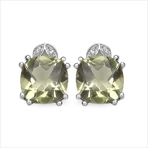 Earrings-7.82 Carat Genuine Lemon Quartz & White Diamond .925 Sterling Silver Earrings