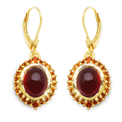Earrings-14K Yellow Gold Plated 9.64 Carat Genuine Hessonite & Citrine .925 Sterling Silver Earrings