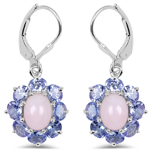 Opal-4.92 Carat Genuine Pink Opal & Tanzanite .925 Sterling Silver Earrings