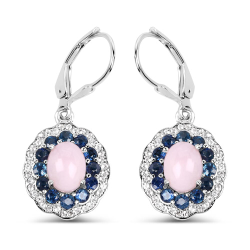 Opal-4.00 Carat Genuine Opal Pink, Blue Sapphire and White Topaz .925 Sterling Silver Earrings