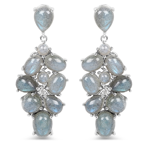 Earrings-16.70 Carat Labradorite and White Topaz .925 Sterling Silver Earrings