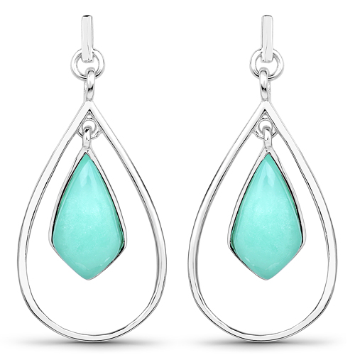 Earrings-8.80 Carat Genuine Crysopharse .925 Sterling Silver Earrings