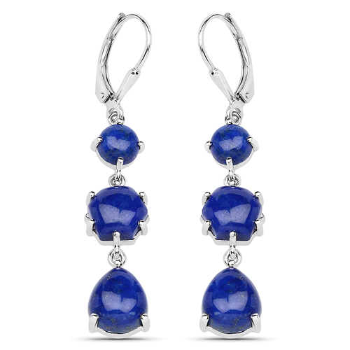 Earrings-10.98 Carat Genuine Lapis .925 Sterling Silver Earrings