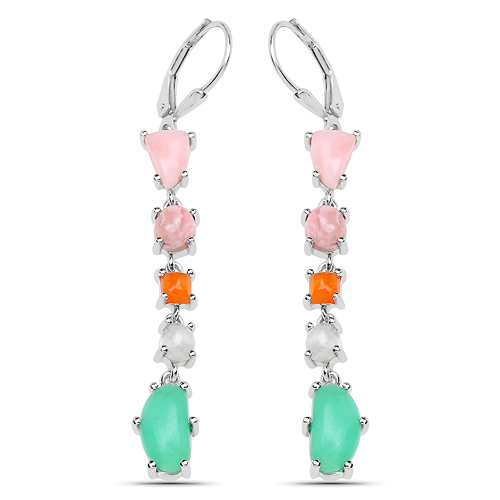 Earrings-8.78 Carat Genuine Multi Stone .925 Sterling Silver Earrings