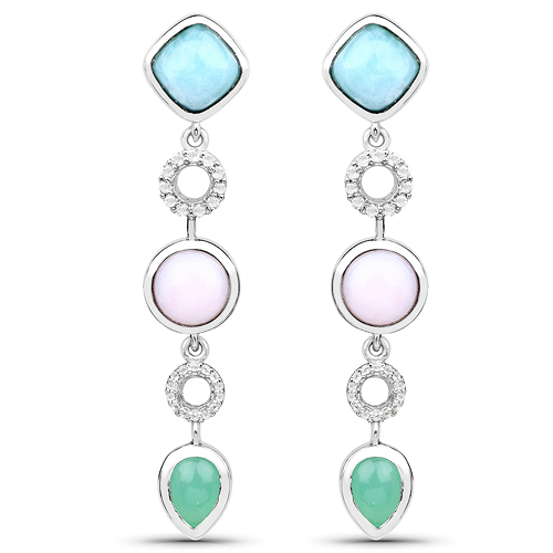 Earrings-7.07 Carat Genuine Multi Stone .925 Sterling Silver Earrings