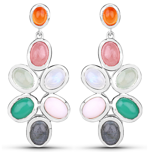 Earrings-11.54 Carat Genuine Multi Stone .925 Sterling Silver Earrings