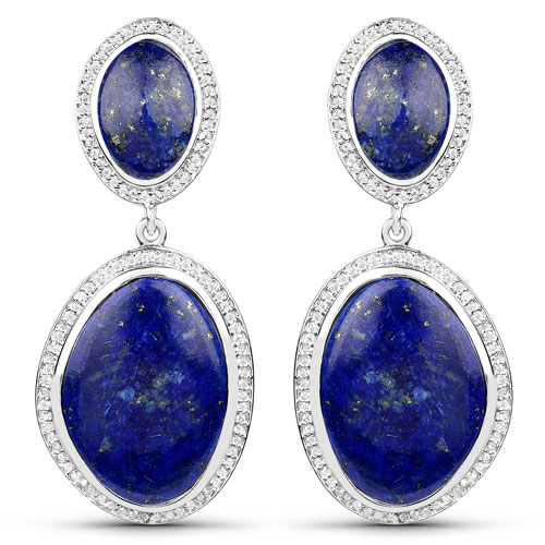 Earrings-26.49 Carat Genuine Lapis and White Topaz .925 Sterling Silver Earrings