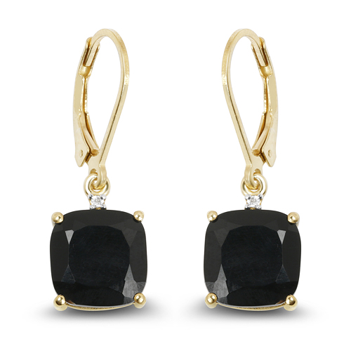 Earrings-14K Yellow Gold Plated 6.59 Carat Genuine Black Onyx & White Topaz .925 Sterling Silver Earrings