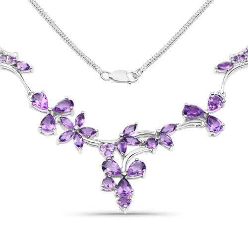 Amethyst-15.72 Carat Genuine Amethyst .925 Sterling Silver Necklace