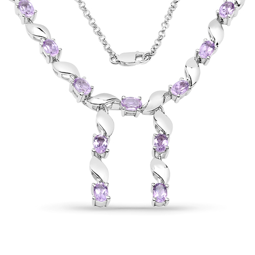 Amethyst-6.45 Carat Genuine Amethyst .925 Sterling Silver Necklace