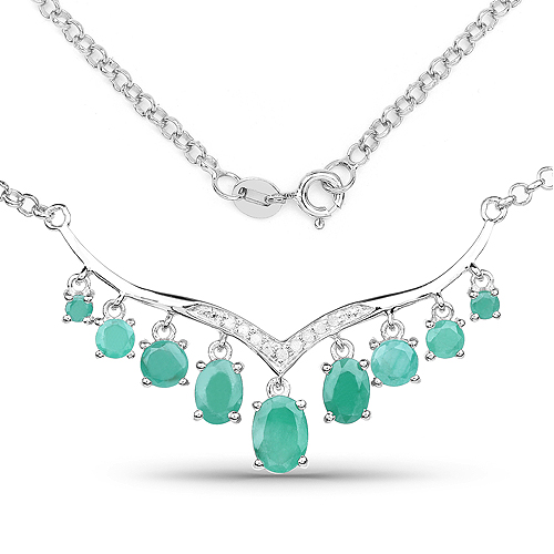 3.98 Carat Genuine Emerald and White Diamond .925 Sterling Silver Necklace