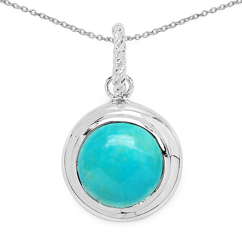 Pendants-8.05 Carat Genuine Turquoise .925 Sterling Silver Pendant