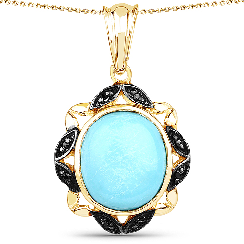 Pendants-14K Yellow Gold Plated 7.33 Carat Genuine Turquoise and Black Spinel .925 Sterling Silver Pendant