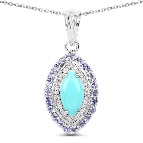 Pendants-2.40 Carat Genuine Turquoise, Tanzanite and White Topaz .925 Sterling Silver Pendant