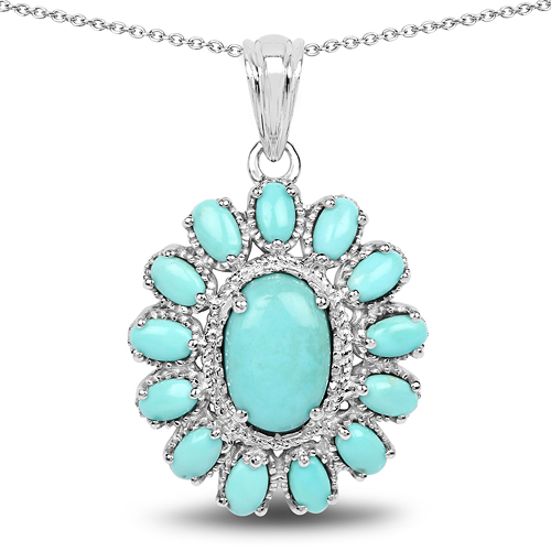 Pendants-8.06 Carat Genuine Turquoise .925 Sterling Silver Pendant