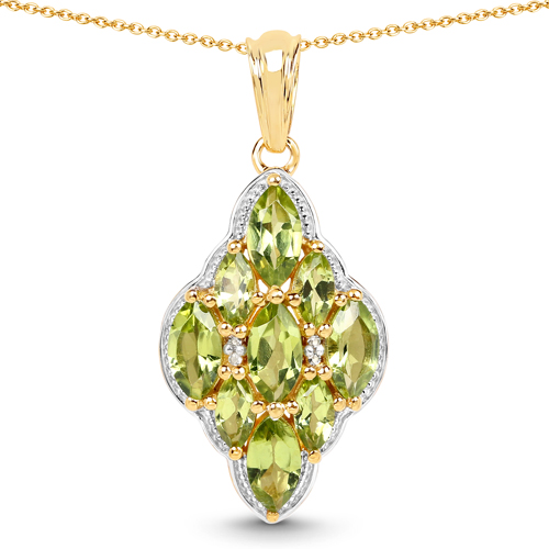 Peridot-14K Yellow Gold Plated 4.02 Carat Genuine Peridot & White Topaz .925 Sterling Silver Pendant